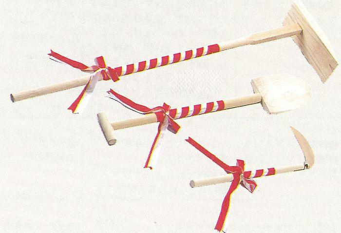 地鎮祭セット(白木)鍬・スコップ・鎌の3点セット